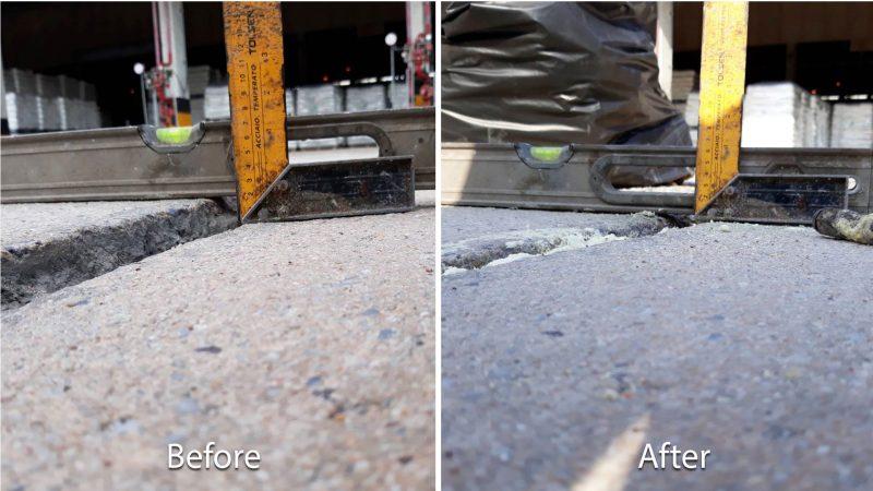 ซ่อมแซมพื้นถนนทรุด