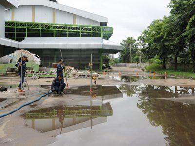 ฉีด PU ซ่อมพื้นเป็นแอ่ง แก้น้ำขัง